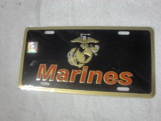 (Licensed) USMC Marines Marine Black and Gold License Plate Tag: Automotive