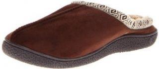 Isotoner Men's Microsuede Hoodback Trim And Sherpa Slippers, Brown, Medium: Clothing