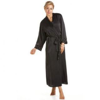 Camille Womens Ladies Luxury Black Gold Long Satin Bath Robe Wrap 6 20 6/8