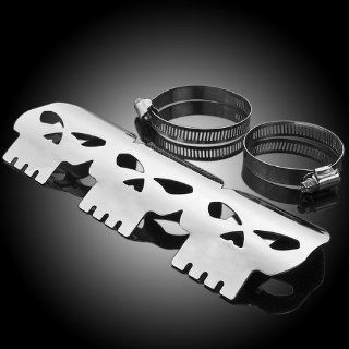 "9"" Skull Design Stainless Steel Exhaust Muffler Heat Shield Cover Heel Guard For Custom Cruiser Chopper Bobber Motorcycle 2"" to 2 5/8"" Pipe   Ropes"
