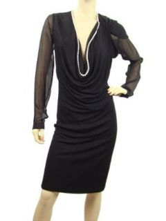 Jean Paul Gaultier Dress   Black Silk Pearl Trimmed Dress Size US 6