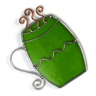 Green Coffee Mug Glass Ornament Green Mountain Glass