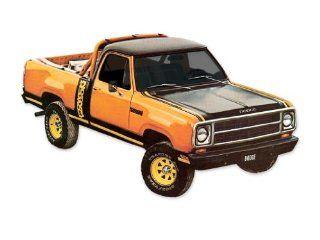 1979 1980 Dodge Macho Power Wagon Truck Decals & Stripes Kit   ORANGE / BLACK Automotive