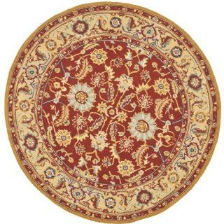 Safavieh HK805A 5R Chelsea Collection 5 Feet 6 Inch Hand hooked Wool Round Area Rug, Red and Ivory