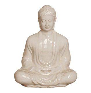 """Antique White Ceramic Meditating Buddha Lotus Seat Sculpture  30""""H   Statues"""