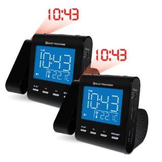Electrohome EAAC600 AM/FM Projection Clock Radio with Dual Alarm, Auto Time Set/Restore, Temperature Display, and Battery Backup (Pack of 2): Electronics