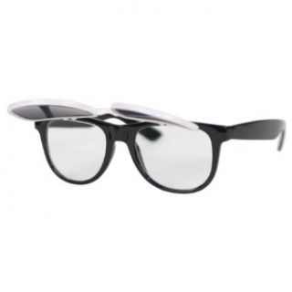 Flip Up Shades to Clear Retro Style Sunglasses   h8030   Blue/White Clothing