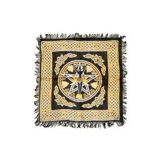 Wiccan Goddess with Pentacle Black and Gold Altar Cloth, with Celtic Knots, 18 x 18 : Tapestries : Everything Else