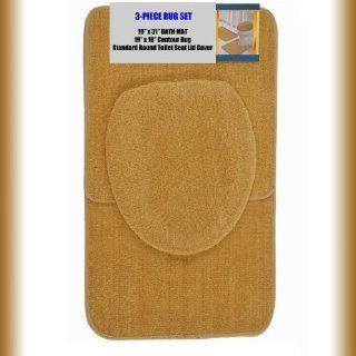 "GOLD 3 Piece Bathroom Set 1 19"" x 31"" Bath Mat/Rug, 1 19"" x 18"" Contour Mat/Rug, 1 Toilet Seat Lid Cover Standard Round. Non Slip/Non Skid.   Mat Sets For Toilet"