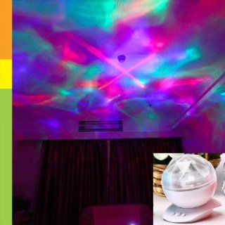LOCOMOLIFE Diamond Color Changing LED Laser Show Aurora Projection Mood Lamp Night Light Speaker LED096WHT White