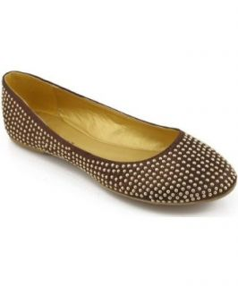 Liliana Eileen 18 Embellished Ballet Flats BROWN (9): Shoes