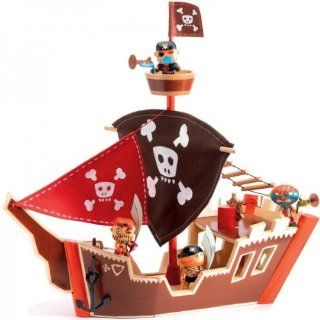 Djeco Arty Toys Action Figures Ze Wooden Pirate Ship Boat: Toys & Games