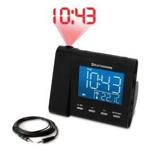 Electrohome EAAC600 AM/FM Projection Clock Radio with Dual Alarm, Auto Time Set/Restore, Temperature Display, and Battery Backup (Bonus AUX Cable for Connecting MP3 Player Included): Electronics