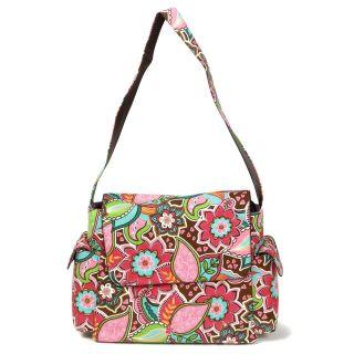 OiOi Messenger Diaper Bag Pink Floral Bouquet   Designer Diaper Bags