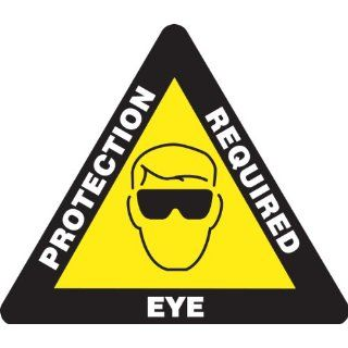 "Accuform Signs PSR832 Slip Gard Adhesive Vinyl Triangle Shape Floor Sign, Legend ""EYE PROTECTION REQUIRED"" with Graphic, 17"" Length, White/Black on Yellow: Industrial Floor Warning Signs: Industrial & Scientific"