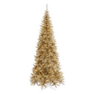 Vickerman Champagne Slim Fir Pre lit Christmas Tree   Christmas Trees