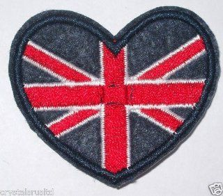 Small Heart Union Jack Flag Embroidery Iron On Fabric Transfer