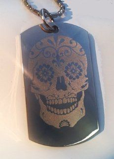 Novelty Sugar Skull Tattoo Logo   Military Dog Tag Luggage Tag Key Chain Metal Chain Necklace: Pet Supplies