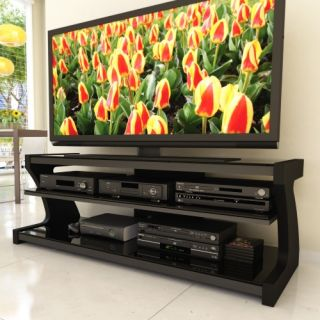 Sonax SN 4600 Sonoma 57 in. Midnight Black Designer TV Stand with Two Shelves   TV Stands