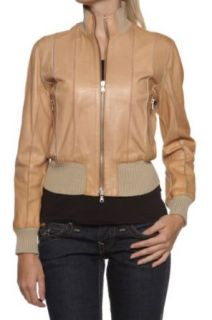 Cristiano di Thiene Blouson Leather Jacket LOUISE, Color: Cognac, Size: 36 at  Women�s Clothing store