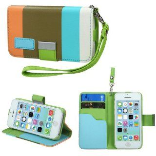 MYBAT Premium Book Style MyJacket Wallet 855 with Package for iPhone 5C   Retail Packaging   Sky Blue/Olive Green/Light Orange Cell Phones & Accessories