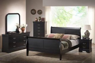 Yuan Tai Louis Phillip Queen Bed and 5 Piece Sleigh Bedroom Set, Black   Bedroom Furniture Sets