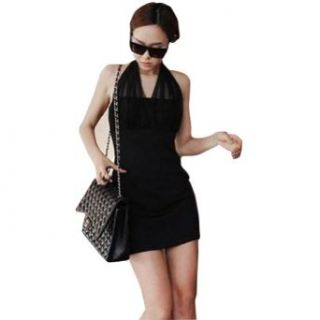 Zehui Ladies Sexy Backless Halterneck Sleeveless Mini Clubbing Cocktail Dress Black