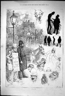 Antique Print of 882 Street Scene Fog Lights London Policeman Horse Transport Carriage