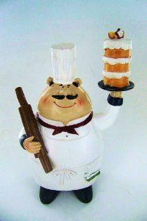 Large Kitchen Fat Chef Statue Figure Figurine Holding Dessert   Collectible Figurines