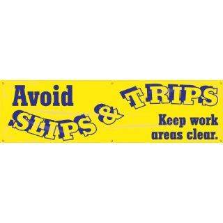 "Accuform Signs MBR881 Reinforced Vinyl Motivational Safety Banner ""Avoid SLIPS & TRIPS Keep work areas clear"" with Metal Grommets, 28"" Width x 8' Length, Black on Yellow: Industrial Warning Signs: Industrial & Scientific"