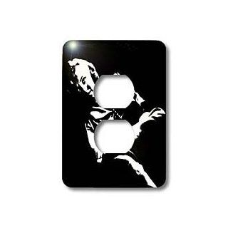 3dRose lsp_46990_6 Marilyn Monroe Marilyn, Monroe, Woman, Silhouette, Portrait, Black and White, Actress 2 Plug Outlet Cover   Outlet Plates