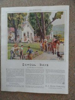 H.J. Heinz Company, Vintage 40's full page print ad. (school house/kids/horse/dog/bicycle/pump)Original vintage 1940 Collier's Magazine Print Art.