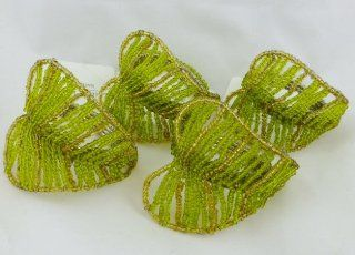 Leila's Linens Tropical Frawn Green Leaf Set of 4 Napkin Rings