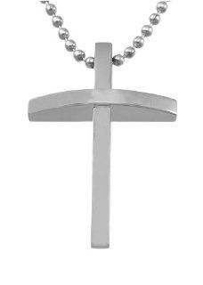 """Men's Stainless Steel High Polished Cross Pendant Necklace, 24"""": Jewelry"""