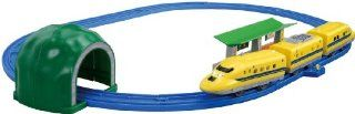 Class 923 `Dr.YELLOW` Double Light Set (3 Car + Oval Track Set) (Tomica PlaRail Model Train): Toys & Games