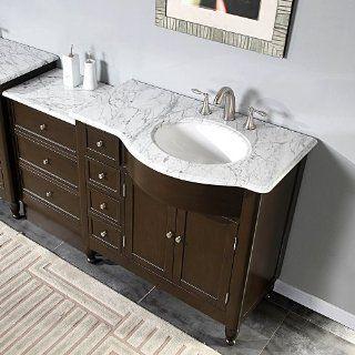 """58"""" Bathroom Sink Vanity White Marble Top Cabinet 902WRM   Bathroom Vanity And Sink Combo"""