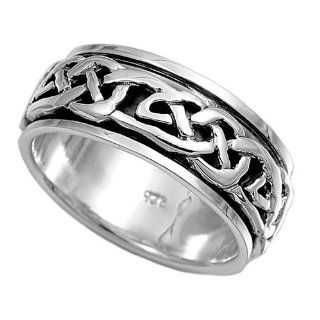 Wicca Witchraft Symbol 8MM Spinner Ring Sterling Silver 925 Size 12: Jewelry
