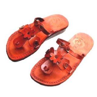Women/Girls Genuine Leather Biblical Sandals / Flip flops (Jesus   Yashua) Sarah Style I   Holy Land Market Camel Trademark Shoes
