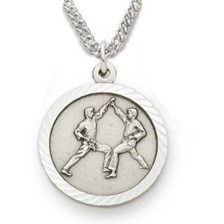 ".925 Sterling Silver Karate and Martial Arts Medal Pendant, St. Saint Christopher on Back Sports Jewelry w/Chain 20"" Length Rhodium Plated Strong Stainless Steel Necklace, Gift Boxed for Boys, Girls, Men or Women: Jewelry"