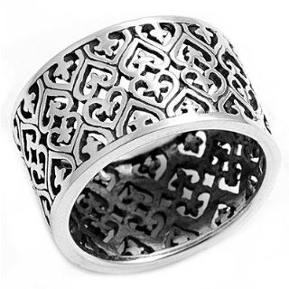 Filigree Heart 13MM Ring Sterling Silver 925: Jewelry