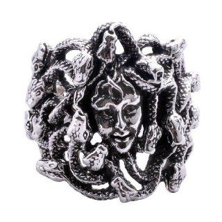 Greek God Medusa Ring Snake Headed Witch .925 Silver Jewelry Size 10: Jewelry