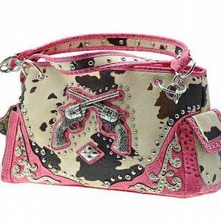 Western Women Purse Handbag Cow Print Brown White Crossed Guns Pink