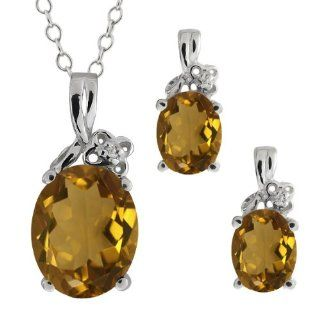 4.62 Ct Oval Whiskey Quartz Gemstone Sterling Silver Pendant Earrings Set Jewelry