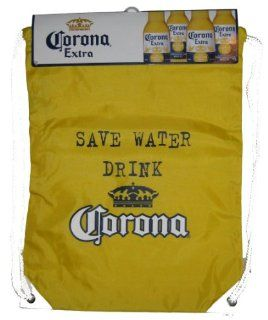 Corona Extra Save Water Drink Corona Yellow Nylon Drawstring Cinch Bag Backpack : Sports Fan Drawstring Bags : Sports & Outdoors