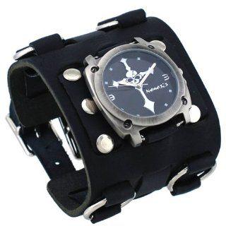 Nemesis #WBK927K Men's Skull Crucifixion Black Super Wide Tri Clasp Leather Cuff Watch Watches