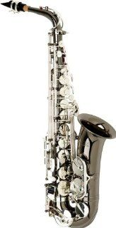 Allora Vienna Series Intermediate Alto Saxophone AAAS 505   Black Nickel Body   Silver Plated Keys Musical Instruments