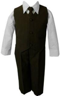 Brown & White Baby Boy & Boys Complete Special Occasion Suit, Shirt, Tie, Vest, Pants (4T, Brown) Business Suit Pants Sets Clothing