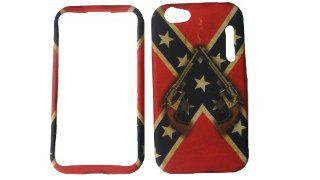 ALCATEL ONE TOUCH 955 RED REBEL CONFEDERATE FLAG SMOKE SMOKING GUNS RUBBERIZED HARD COVER CASE SNAP ON: Cell Phones & Accessories