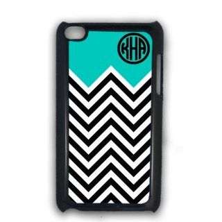 Black and white chevron print with light blue   personalized iPod case, iPod Touch 4g cover, iTouch case: Cell Phones & Accessories