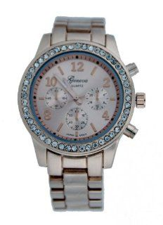 Geneva Women's Rose Gold Tri Faux Dialed Jeweled Watch 975 RG2 at  Women's Watch store.